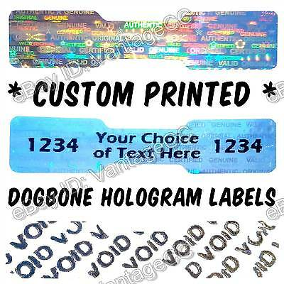 1001x CUSTOM-PRINTED Hologram Stickers, 45mm x 10mm Dogbone Warranty Void Labels