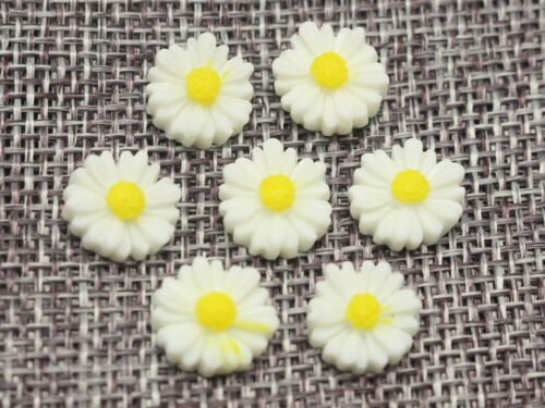 50 Flatback Resin Camellia Daisy Flower Cabochons 11mm 13mm Craft Embellishments