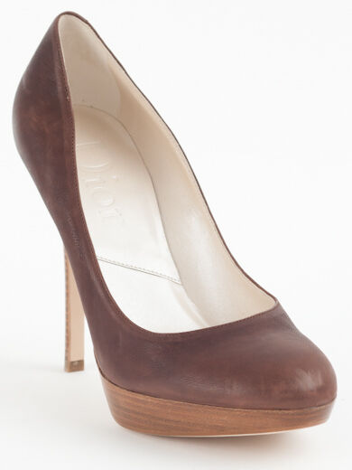New Dior marron Leather Pumps Retail 39.5 US 9.5