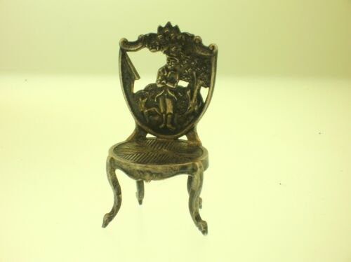 1895 DUTCH STERLING SILVER DOLL HOUSE MINIATURE CHAIR - HALLMARKED - 49MM - B/O