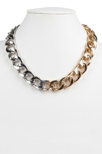 Judys Fashion Chunky Curv Chain Necklace With Lobster Claw Clasp