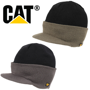 NEW CAT PEAKED VISOR BEANIE HAT INSULATED WARM OUTDOOR KNITTED ... 0bcc6dd0c9d7