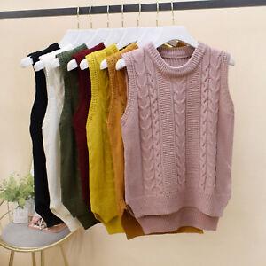 Casual Lady College Jumper Tank Tops Pullover maglione maniche maglia Knit senza A5Awr