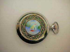 Molnija-Porcelain-Painting-amp-Filigree-Savonnette-Hunter-Pocket-Watch-Taschenuhr