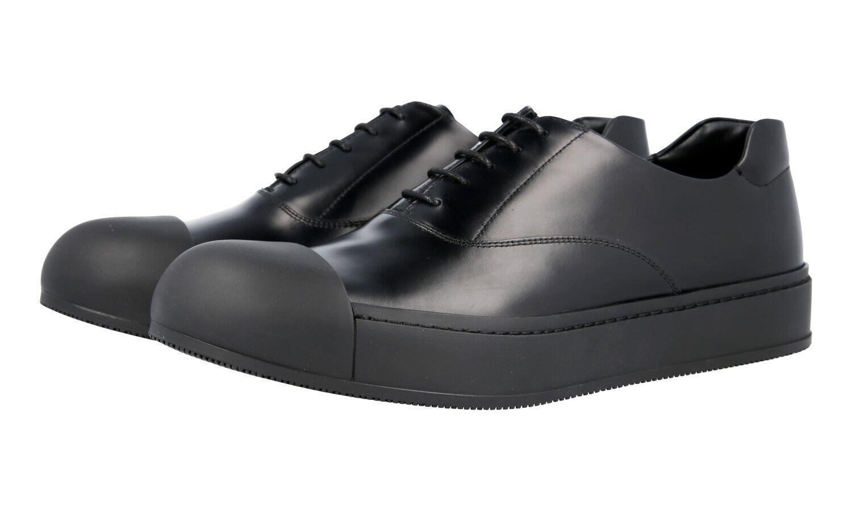 Authentic fantaisie PRADA Cap toe chaussures à lacets noir 2EG221 New US 8 Eu 41 41,5