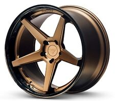 19x8.5/9.5 Ferrada FR3 5x120 +33/35 Matte Bronze/Gloss Black Lip Rims (Set of 4)