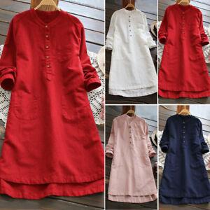 Vintage-Femme-Oversize-Coton-Longue-Manche-Asymetrique-Tops-Hauts-Mini-Robe-Plus