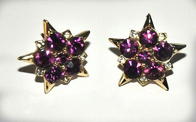 Jewelry & Watches Amethest And Rhinestone Earings Distinctive For Its Traditional Properties