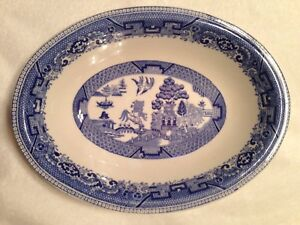 Antique BUFFALO CHINA Blue Willow Oval Serving Dish Bowl Made In USA ...