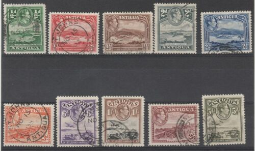 ANTIGUA 1938 KGVI PICTORIAL 1/2D TO 5/-