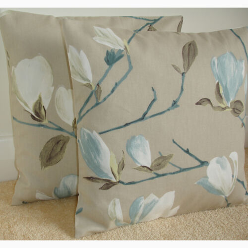 """20/"""" Cushion Cover Duck Egg Blue Ivory Magnolia Branches Taupe Beige Trees"""