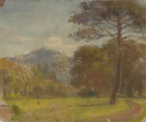 Mid-20th-Century-Oil-Woodland-Landscape