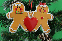 PERSONALISED CHRISTMAS TREE DECORATION ORNAMENT GINGERBREAD COUPLE LOVE HEART