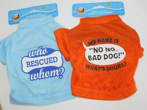 Puppy-Dog-T-Shirts-TWO-Very-Small-Who-Rescued-Whom-amp-My-Name-No-No-Size-Medium