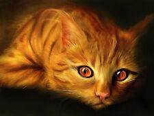 Chart Needlework Crafts DIY Counted Cross Stitch Pattern-14 ct Golden Cat