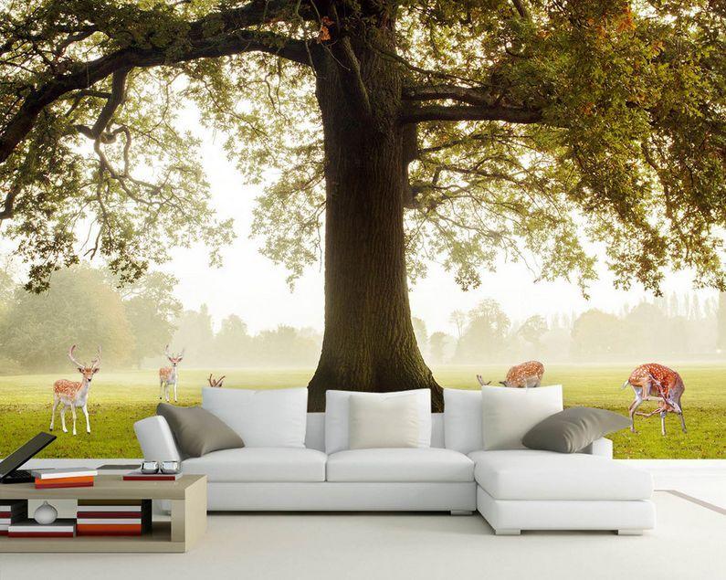 3D Bäume, Gras Fressen rehe 3 Fototapeten Wandbild Fototapete BildTapete Familie