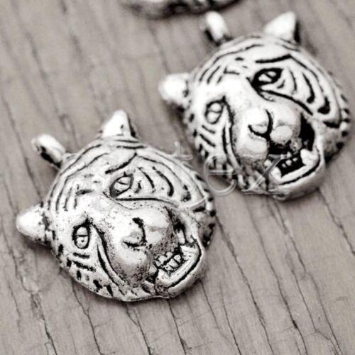 Großhandel Silber Metall Anhänger Schmuck Tiger Perlen 17.5x13.5x6mm 40Stk