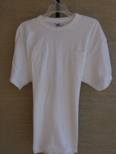 NEW Fruit Of The Loom heavy weight cotton crew neck Pocket Tee Shirt 2X White