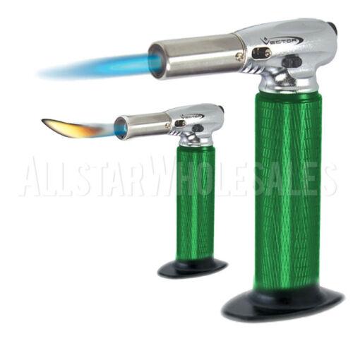 New Green Vector KGM Nitro Dual Jet Torch Flame Butane Lighter w// Removable Base