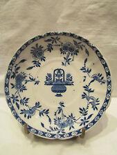 ancienne coupelle sous tasse faience de delft decor floral bleu fin 19e holland