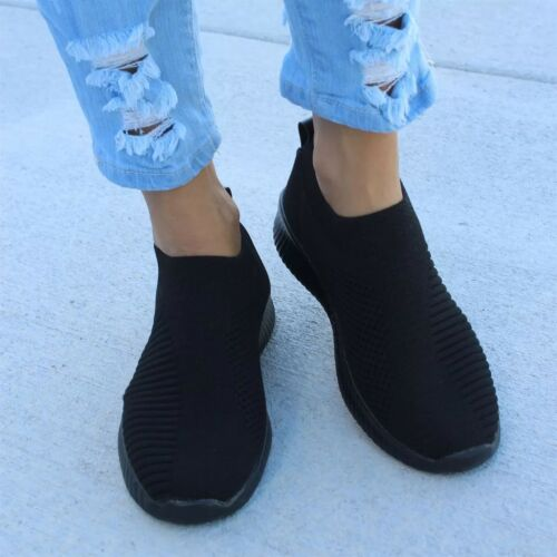 Womens Slip On Breathable Sneakers Trainers Sport Running Pumps Sock Shoes Size