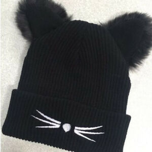 059263ae191 Cute Winter Knitted Hats Women Beanie Lady Knit Hat Ski Slouch Cap ...