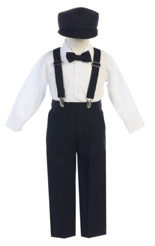 Boys Suspender Pants Outfit 5 pc Suit Set Easter Wedding Baptism Christmas Party
