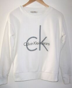 Calvin Klein Jeans Crew Neck White Sweatshirt Women's XS Spell Out Big Logo