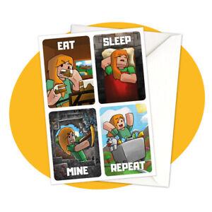 Alex - Eat Sleep Mine Repeat GREETING CARD - Minecraft personalized personalised
