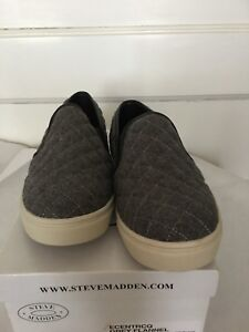 a5326a3af00 Image is loading STEVE-MADDEN-ECENTRCQ-GREY-FLANNEL-QUILTED-SNEAKERS-SZ-