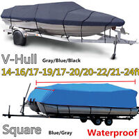 Boat Cover 16' 17' 22' 24' Ft V-hull Bass Runabout Boat Gray Storage Covers