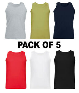 MEN-VESTS-100-Cotton-TANK-TOP-TRAINING-SUMMER-GYM-TOPS-PACK-PLAIN-S-2XL-5-PACK