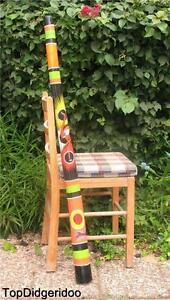 "*WITH SMALL AESTHETIC FAULTS* 47"" DIDGERIDOO Teak Wood Artwork Dot-Painted Heron"