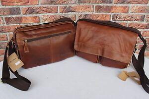 Italy-LEDER-Schultertasche-Braun-Messenger-tasche-Umhaengetasche-Leather-Bag-155