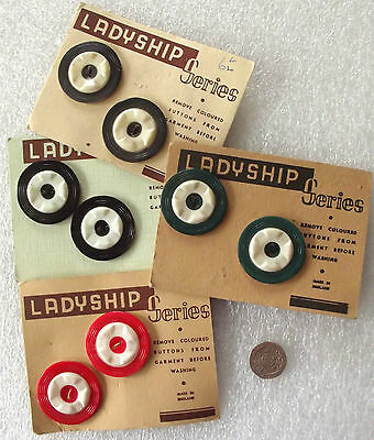 "2 large vintage buttons 1 1/2"" LADYSHIP SERIES 1.5 inch Black Grey Green colours"
