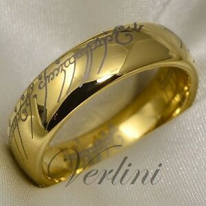 Image Is Loading Gold Tungsten Ring Lord Of The Rings Wedding