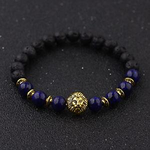 New-Men-039-s-Rock-Lava-Lion-Head-8MM-Natural-Stone-Beaded-Bracelets-Charm-Jewellery