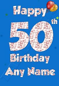 Image Is Loading Personalised Handmade Age 50 50th Birthday Greeting Card