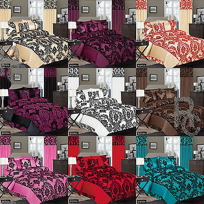 Gorgeous Damask Flock Duvet Cover Set Complete Bedding Set Double & King Size