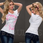 Sexy Women's Glamour Tops Heart Tattoo Print Shirt Casual Size 4 6 8 10 12 S M L