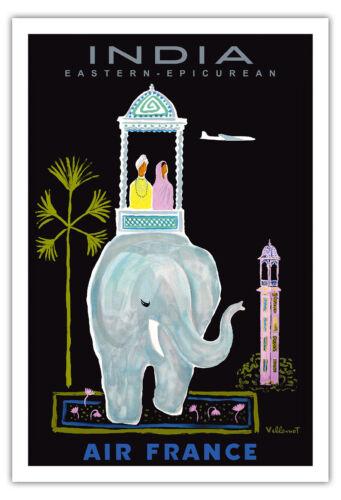 India Elephant Howdah Villemot Vintage Airline Travel Art Poster Print Giclée