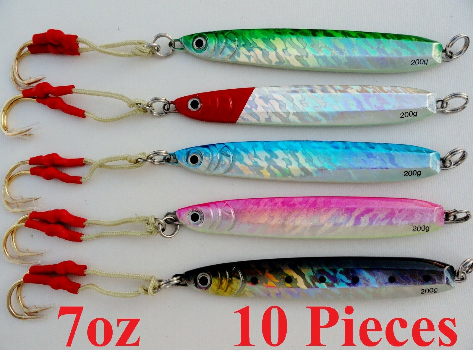10  pcs Knife Jigs 200g 7oz greenical Butterfly Saltwater Fish Lures Combo colors  gorgeous