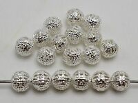 200 Silver Plated Metal Round Filigree Spacer Beads 8mm Jewelry Findings
