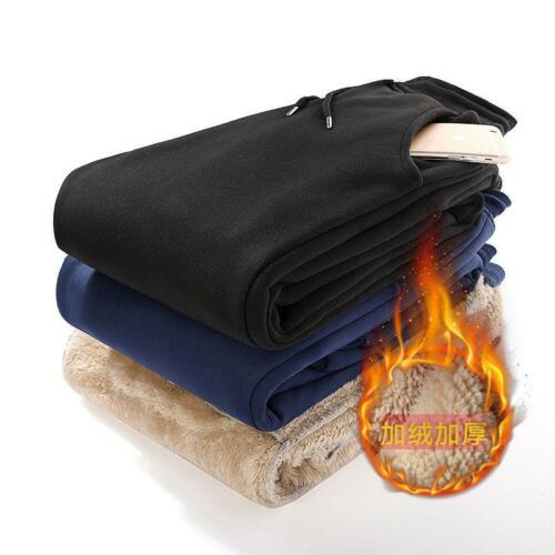 Men/'s Winter Thick Fur Fleece Fur Lined Warm Casual Loose Sports Comfy Pants New