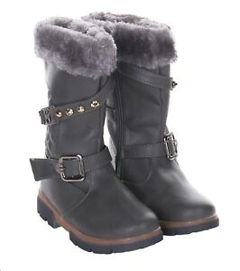 KIDS GIRLS FAUX FUR LINED BUCKLE QUILTED INFANTS PATENT WINTER BOOTS SIZE 4-2 UK