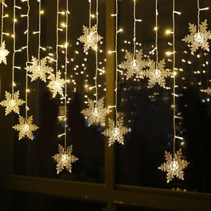 Copo-De-Nieve-Hada-Cadena-de-Luz-96-LED-Cortinas-Ventana-Navidad-Boda-Fiesta-Decoracion