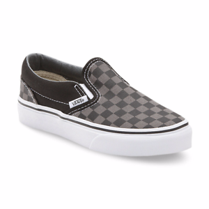 f1b05c89eb6863 KIDS VANS OFF THE WALL  Slip On  Canvas Shoes Black Pewter Checkered ...
