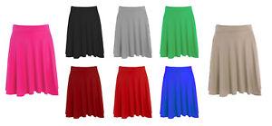 New-Womens-Plus-Size-Plain-Flared-Elastic-Waist-Ladies-Short-Skater-Skirt-14-26