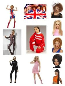 Womens-Spice-Girl-Fancy-Dress-Costumes-w-Wig-Scary-Sporty-Baby-Ginger-Posh-Party