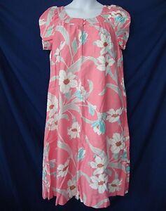 dad59150e458 Vintage 80s 90s Kahala Hawaiian Muumuu Dress 14 Pink Coral Floral ...